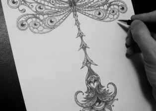 POSITIVE tattoo Dovydas Klimavicius Paper-Pencil 21x30 DragonFly