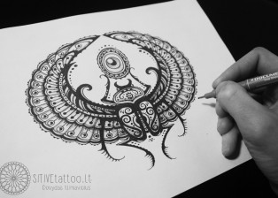 POSITIVE tattoo Dovydas Klimavicius Paper-Pencil 50x70 Scarab